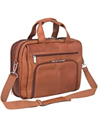 "Colombian Leather Dual Compartment Expandable 15.6"" Laptop Portfolio, Cognac"