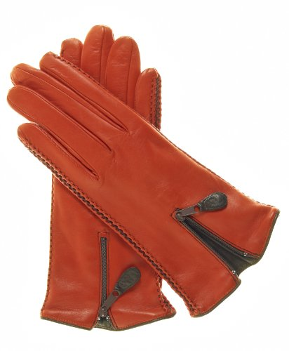 Fratelli Orsini Women's Lambskin Cashmere Lined Leather Gloves with Zipper Size 6 Color Persimmon by Fratelli Orsini