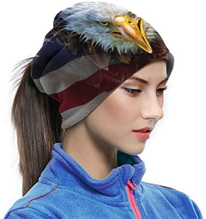 Eagle On American Flag ネックガード 吸汗速乾 バンダナ 日よけ 顔 フェイスガード 多機能 マジックスカーフ