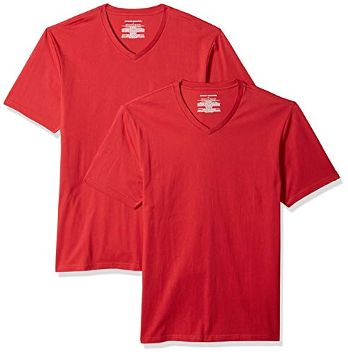 Amazon Rouge fit T Essentials V pack red shirt Slim neck Red 2 Zz6rwZ