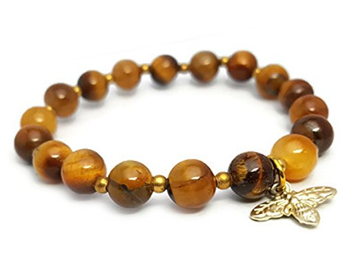 Gold Tone Tigers Eye Bracelet - APECTO 8 mm Natural Multicolor Stone Beads Charm Elastic Bracelet, Gold Tone Bee (Tiger Eye), TGA1