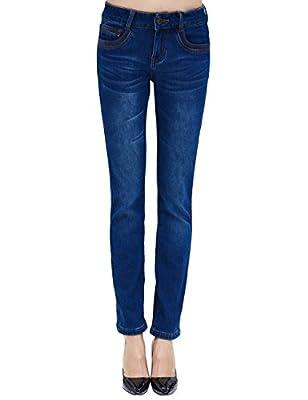 Camii Mia Women's Winter Slim Fit Thermal Jeans Pants
