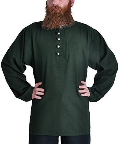 Medieval Pirata Camisa con Cuello Alto, Verde, tamaños M – XXXL