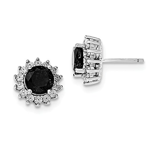 ICE CARATS 925 Sterling Silver Black Sapphire Post Stud Ball Button Earrings Fine Jewelry Ideal Gifts For Women Gift Set From Heart ()