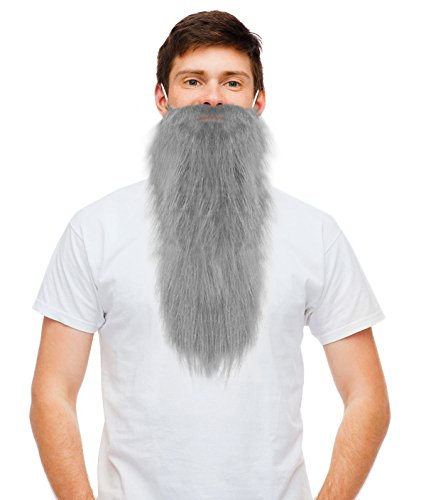 Fake Grey Beard (Grey Fake Dwarf Beard Gray ZZ Beard Gnome Beard Prospector Hillbilly)
