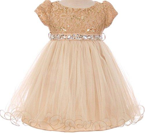 Baby Flower Girl Dress Lace Bodice Crystal Tulle Bottom Champagne M MBK (Embellished Medium Sleeve)