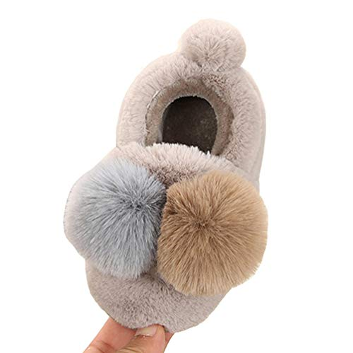 LGXH Toddler Kids Cute Double Color Ball Warm Shoes Slippers Boy Girl Winter Soft Bedroom Indoor House Light Grey Size 13-1 M US Little Kid ()