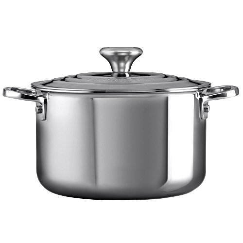 Le Creuset of America Stainless Steel Stockpot with Lid, 6.3 quart