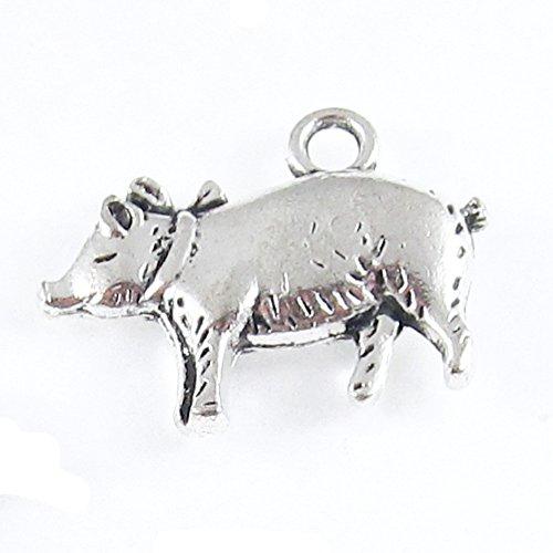 Silver Metal Farm Hog Charms - Pig 18x20mm (10 Pieces)