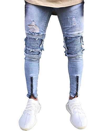 Men's Distressed Skinny Slim Fit Zip Jeans with Rips and Biker Details Blue 28