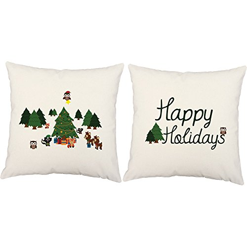 Set of 2 RoomCraft Winter Wonderland Animals Throw Pillows 20x20 Inch Square White Outdoor Holiday Cushions by RoomCraft