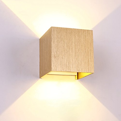 Solid Wood Wall Lamp High Brightness LED Light Source European Simple Aisle Square Wall Lamp Creative Bedroom Staircase Wall Decorative Lights AC 110 - 240V ( Color : Gold )