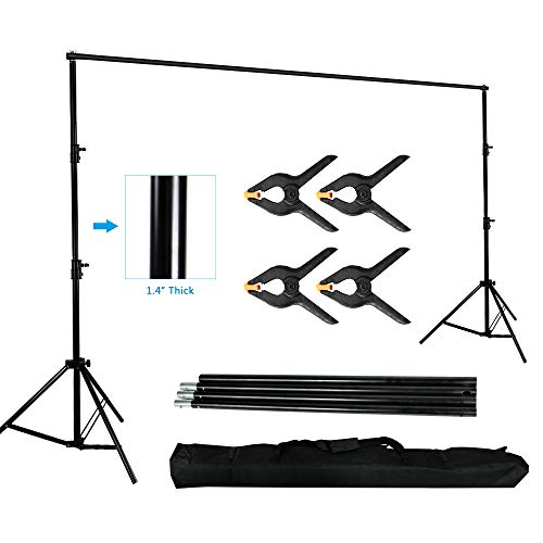 10 x 10ft Photo Video Studio Backdrop Background Stand, Adjustable Heavy Duty Photography Tall Background Telescopic Support System Kit with Carry Bag