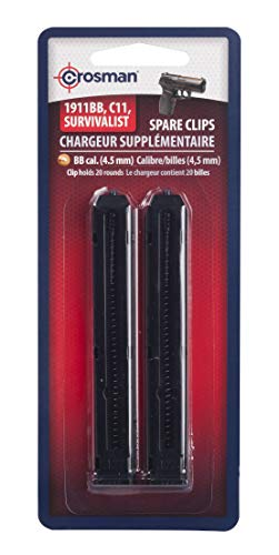 Crosman 0481 Spare Magazine Clip For Use With Crosman P10, C11, 1911BB and MK45 4.5 mm BB Air Pistols, 2-Pack