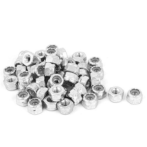 [uxcell 8#-32 Zinc Plated Self-Locking Nylon Insert Hex Lock Nut 50pcs] (Self Locking Nut)