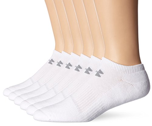 Under Armour Mens Charged Cotton 2.0 No Show 6 Pack, White/Gray, Medium (Cotton Sports Socks)