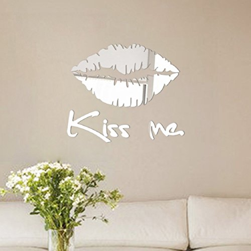 Loves Wall Mirror Kiss - Wall Stickers ,Ikevan Removable Kiss Me Mirror 3D Wall Sticker Decal Art Mural Home Room Decor 30x 25 cm (Silver)