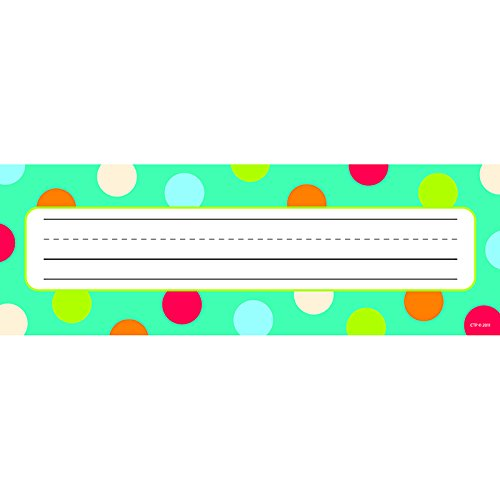 CREATIVE TEACHING PRESS DOTS ON TURQUOISE NAME PLATES (Set of 24)