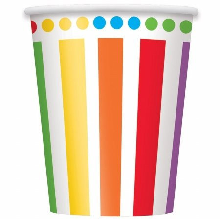 Unique Industries 251353 Rainbow Birthday Party Paper Cups, 8 Piece - 9 oz