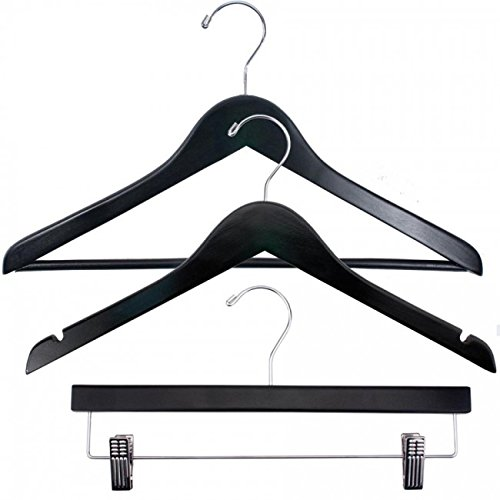 NAHANCO 8217CHHUSK Economy Wood Clothes Hanger Kit - Black with Chrome Hardware (Pack of 81) by NAHANCO