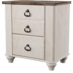 Bedroom Signature Design by Ashley Willowton Farmhouse 2 Drawer Nightstand with USB Charging Ports, Whitewash farmhouse nightstands