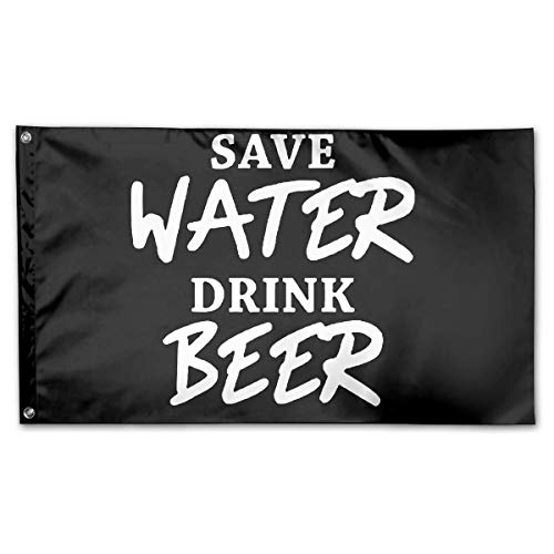 WINDST Personalized Save Water Drink Beer Logo Garden Flag 3x5 ft Outdoor Garden Decorative Banner Black -