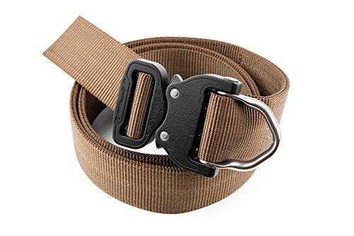 Klik Belts Tactical D-Ring Riggers Belt with COBRA Quick Release Buckle. Black/Coyote Brown; 40