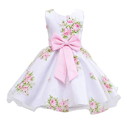 Dresses for Girls Pink Print Flower Elegant Vintage Princess Party Birthday Wedding Ruffle Floral Bowknot Child Summer Butterfly Dress Lace Size 10 11 12 (008 Pink 140) for $<!--$16.89-->