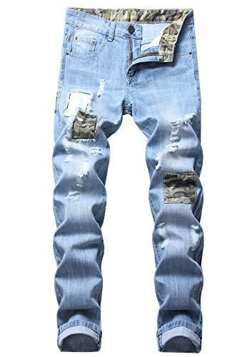 FREDD MARSHALL Men's Light Blue Slim Fit Ripped Distressed Camo Patched Stretch Fashion Denim Jeans for $<!--$27.99-->