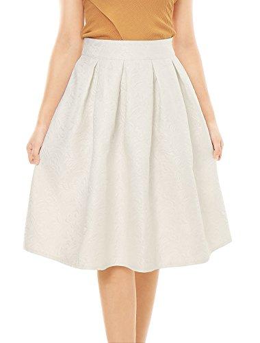 Pleated Skirt Jacquard - Allegra K Women's High Waist Floral Jacquard Pleated A Line Skirt L White