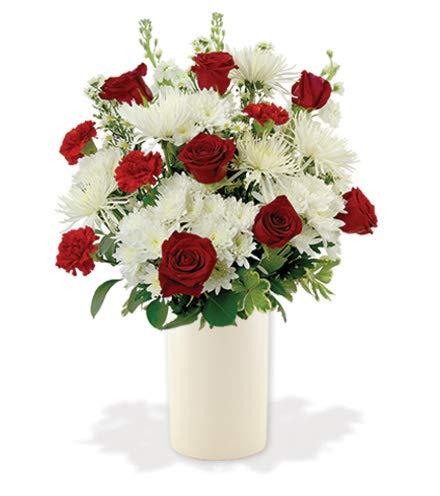 Patriotic Sympathy Arrangement - Treasured Moments - Red & White
