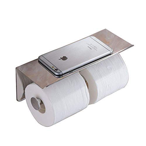 Beelee SUS 304 Stainless Steel Double Roll Toilet Paper Holder Storage Bathroom Kitchen Dual Paper Towel Dispenser Tissue Roll Hanger Wall Mount, Chrome Finish