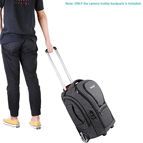 Neewer 2-in-1 Camera Rolling Backpack Trolley Case with TSA Lock, Anti-Shock Detachable Padded Compartment, Hidden Pull Bar, Durable, Waterproof for Lens, Lens Hood, and Tablet (Grey/Red) by Neewer (Image #4)