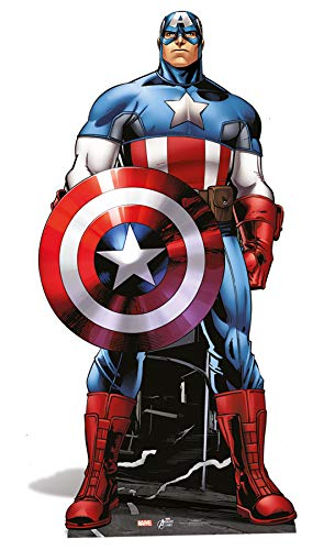 Marvel Star Cutouts Official Avengers Life Size Cutout of Captain America 177cm Tall.