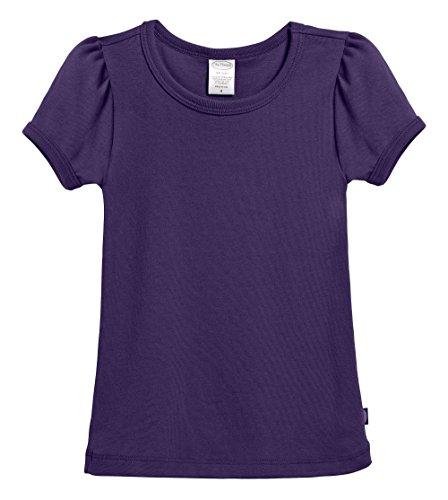 City Threads Little Girls' Baby Rib Cotton Short Sleeve Puff Fashion Shirt Tee Tshirt Blouse, Purple, 4T
