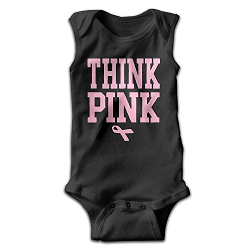 Aware Pink Ribbon (MMSSsJQ6 Think Pink Breast Cancer Awareness with Ribbon Infant Baby Boys Girls Crawling Clothes Sleeveless Romper Bodysuit Onesies Jumpsuit Black)