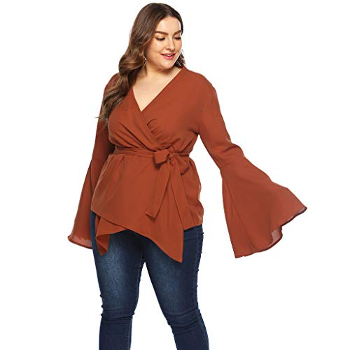 kaifongfu Ladies Vest for Spring, Women Summer Plus Size Long Sleeve V Neck T Shirt Top -