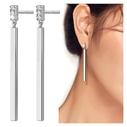Suyi Minimalist Dainty Bar Stud Earrings Long Drop Dangle Earrings for Women Girls Silver