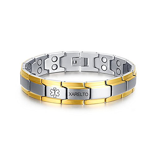 VNOX Stainless Steel Two-Tone Medical Symbol XARELTO Magnetic Therapy Bracelet for Men Women