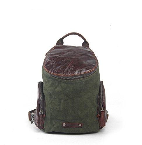 Jane Simple Lienzo Cuero Cintura Bolsa Mochila Army green