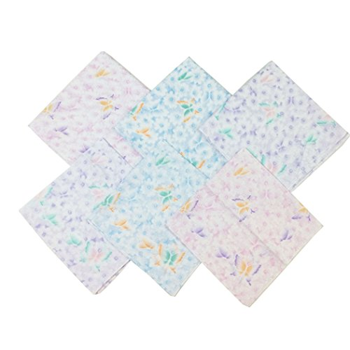 Butterfly Handkerchief - OWM Handkerchief Pack of 6 Assorted Pastel Butterfly Cute Handkerchiefs for Girl