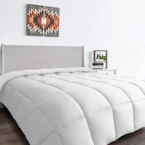 MEWAY Queen All-Season White Down Alternative Quilted Comforter-Hotel Collection Reversible Duvet Insert-Fill Corner Ties,Warm Fluffy ()