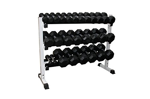 Cheap Ader Black Rubber Dumbbells 2 to 60lbs with 3 Tier 48″ Dumbbell Rack Set