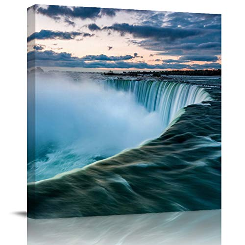 (Miss Sweetheart Canvas Wall Art - Green Niagara Falls Cliff Canvas Artwork Prints Contemporary Wall Art Decor for Home Living Room Bedroom Decoration Office Wall Decor Framed Ready to Hang)