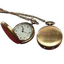 Luxury Engraved s UK Men's Happy 80Th Birthday Pocket Watch Brass Effect, Personalised / Custom Engraved In Box