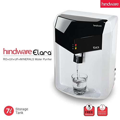 Hindware Elara 7-Liter RO+UV+UF+Mineral Fortification Water Purifier with Free Installation (White...