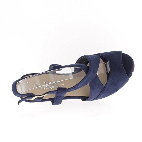 Sandali con zeppa tacco e plateau blu floreale cm 10,5