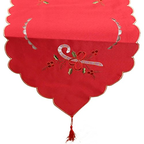 Sumen Christmas Holiday Embroidered Table Runner Party Decor (Red-2)