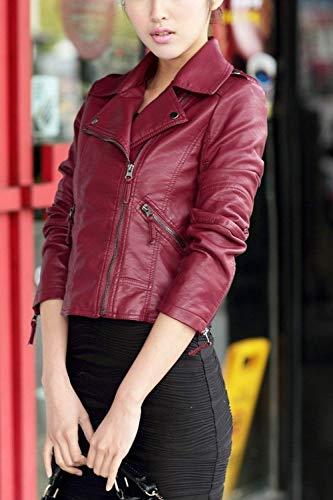 Similpelle Pelle Donna Cerniera Women Casual Colore Prodotto Giacca Vintage Eleganti Manica Lunga Plus Di In Jacket Giacche Rosso Puro Slim Giovane Caftano Biker Fashion Fit Con wd7nqw1A