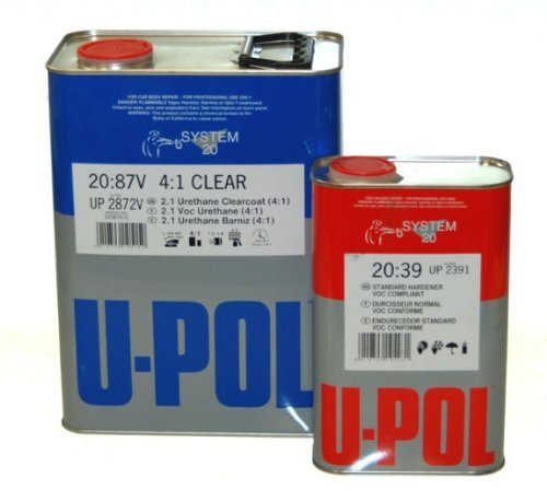 U-Pol (2.1 VOC) Medium Solids Compliant Clear Coat Kit with Standard (85 to 115ºF) Temperature Hardener European Style Clearcoat - Ideal for Overall use by U-Pol